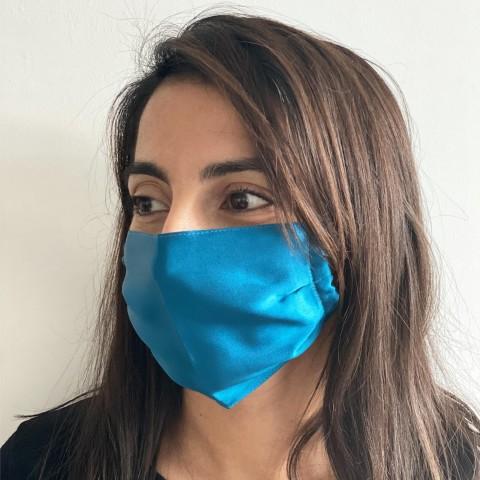 Masque en soie 100% Pastel bleu canard