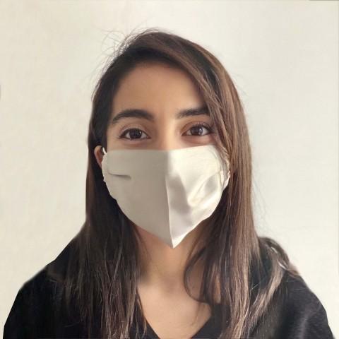 Masque en soie Pastel blanc