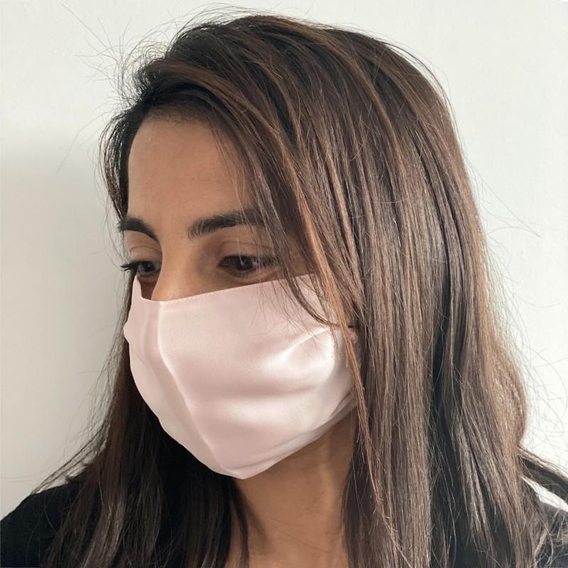 100%  silk face mask pastel light pink