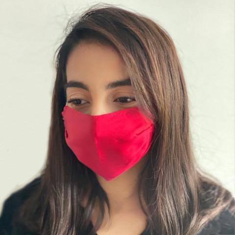 silk face mask Burgundy red Pastel
