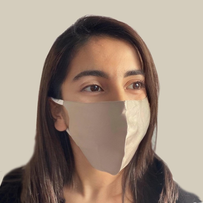 silk face mask silver
