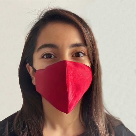 Silk face mask Burgundy red Nano