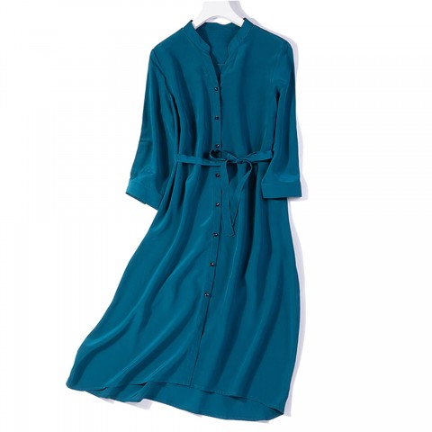 Robe Chemise Manches Longue 100% soie