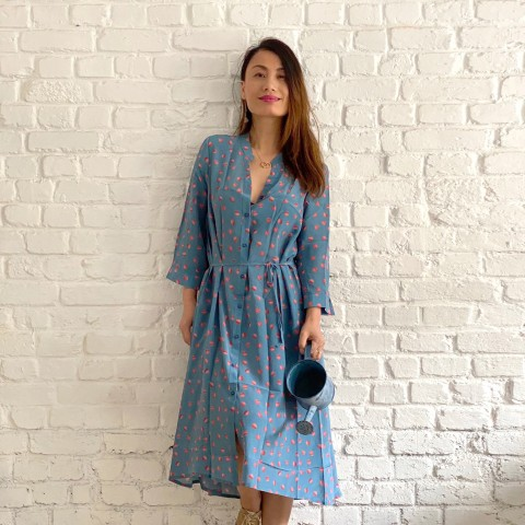 Robe en soie 100% imprimé motifs points bleus